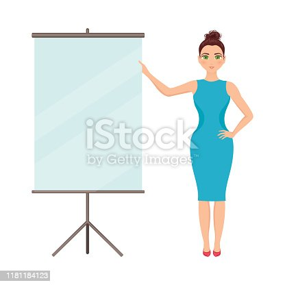 Businesswoman standing at a board at the presentation. Blank roller screen. Manager in the office near a flip chart with empty space. Projector screen in the conference room. Cartoon vector.