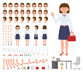 Office manager woman cartoon character constructor design set. Generator of waving young adult lady in business clothing standing on white background