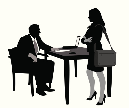 Office Meet Vector Silhouette Stock Illustration - Download Image Now