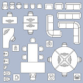 Office meeting furnitures, architecture plan vector line icons. Furniture office table and chair, illustration of interior design office