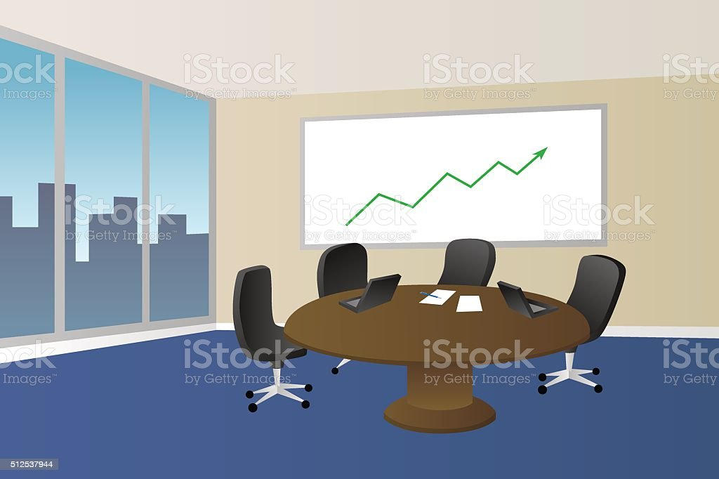 Office Room Beige Interior Table Chair Window Illustration Vector - Conference room table and chairs clip art