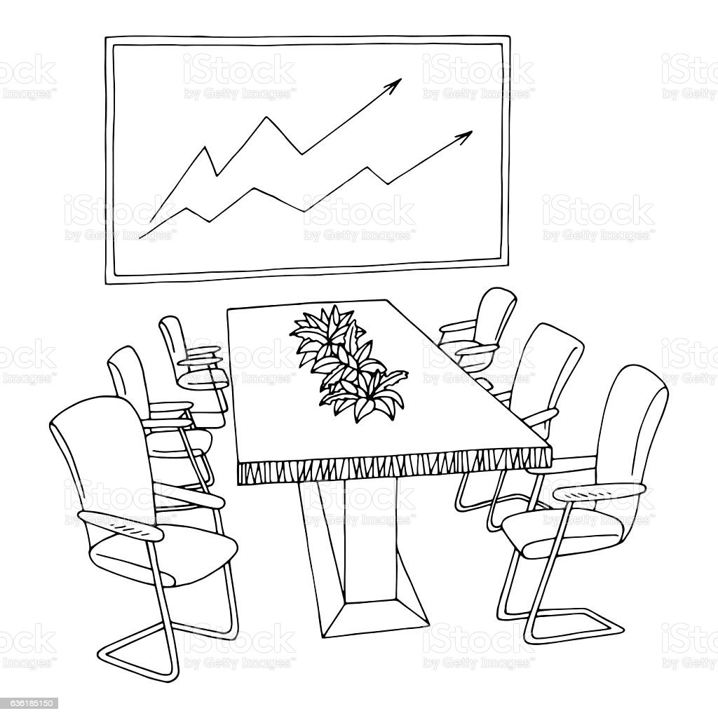 Office Meeting Room Black White Graphic Interior Sketch