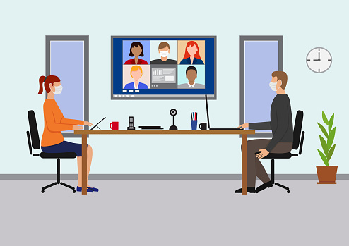 Office Meeting with Video Conference,