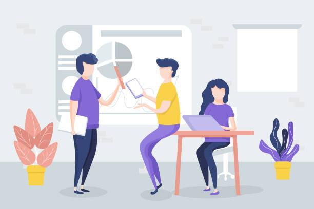 ilustraciones, imágenes clip art, dibujos animados e iconos de stock de oficina de reuniones, los trabajadores discuten el proyecto, tablas, gráficos. - training