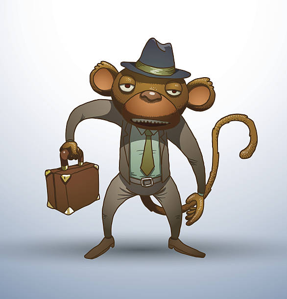 office monkey with a briefcase - old man funny pictures stock illustrations