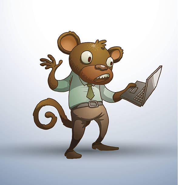 office monkey with a laptop - old man funny pictures stock illustrations