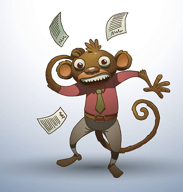 office monkey with scattered papers around - old man funny pictures stock illustrations