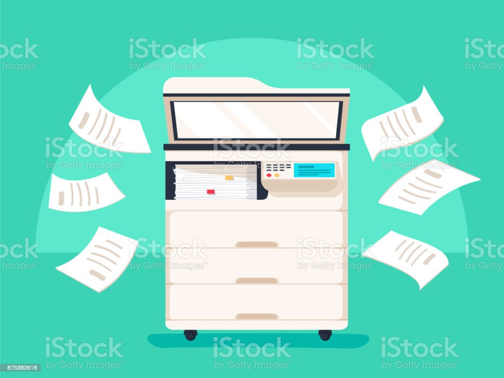 Office multifunction printer scanner. Copier with flying paper isolated on background. Copy machine vector art illustration