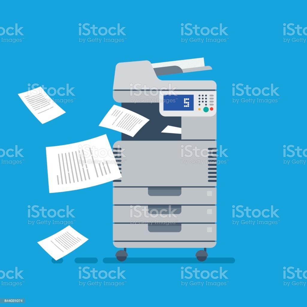 Office Multi-function Printer scanner. Isolated Flat Vector Illustration vector art illustration