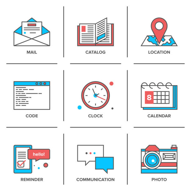 office objects line icons set - katalog stock illustrations