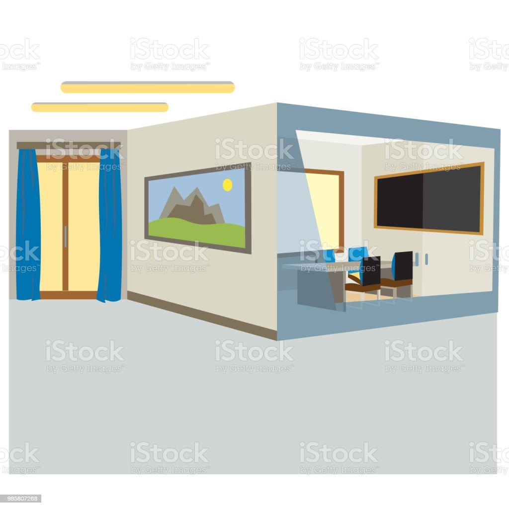 Office Sliding Glass Doors: Office Office On The Floor With Glass Doors Stock Vector