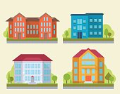 Set of office or adiministrative buildings, outdoor cartoon architecture set, vector illustration icons