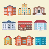 Set of office or administrative buildings, outdoor cartoon architecture set, vector illustration icons