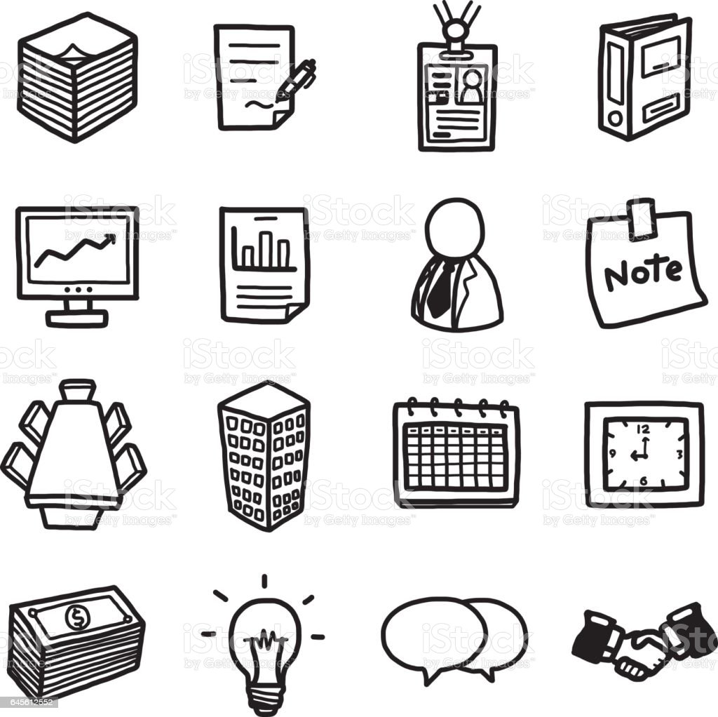 office or business objects, icons set vector art illustration