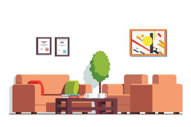 illustrations, cliparts, dessins animés et icônes de salle d'attente du cabinet ou clinique avec table basse - hall d'accueil