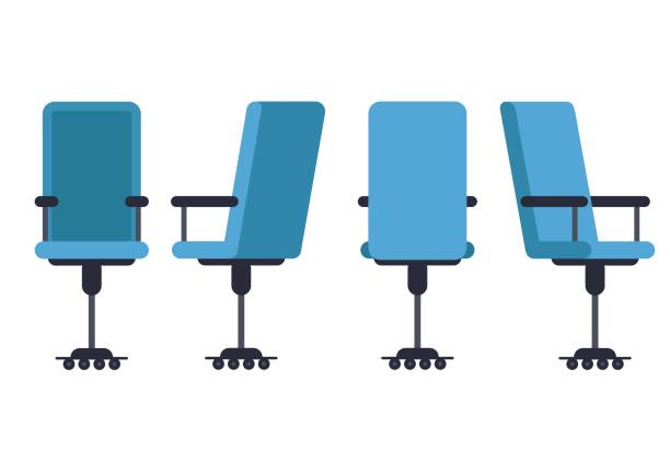 Office or desk chair in various points of view. Armchair or stool in front, back, side angles. Corporate castor furniture flat icon design. Vector illustration. Office or desk chair in various points of view. Armchair or stool in front, back, side angles. Corporate castor furniture flat icon design. Vector illustration. office chair stock illustrations