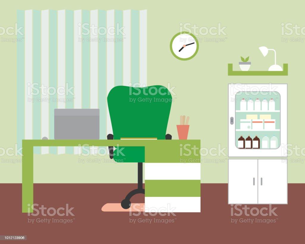 Bureau Ou Cabinet Mdical Avec Table Et Chaise Ordinateur Portable Mdecine Box Horloge
