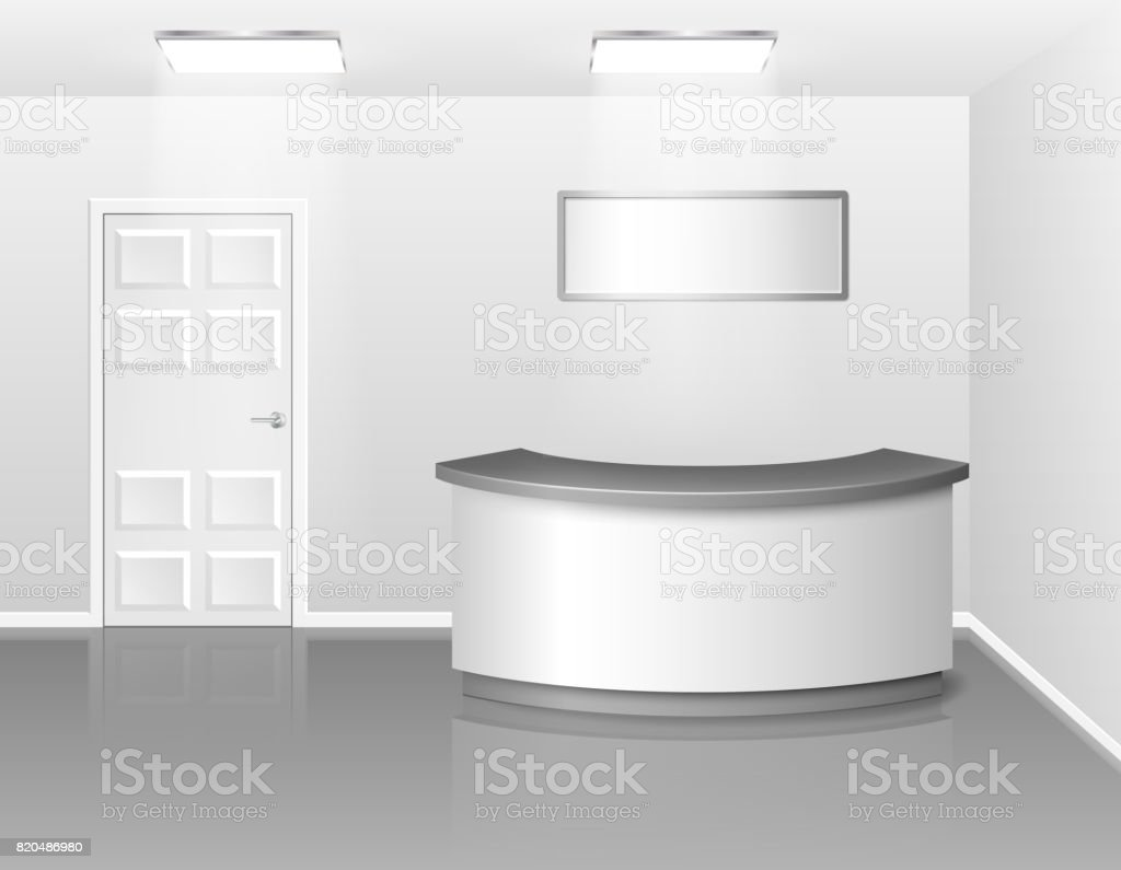 Office or hotel interior with reception or exhibition counter desk. 3d realistic vector illustration. Empty business interior hall with counter vector art illustration