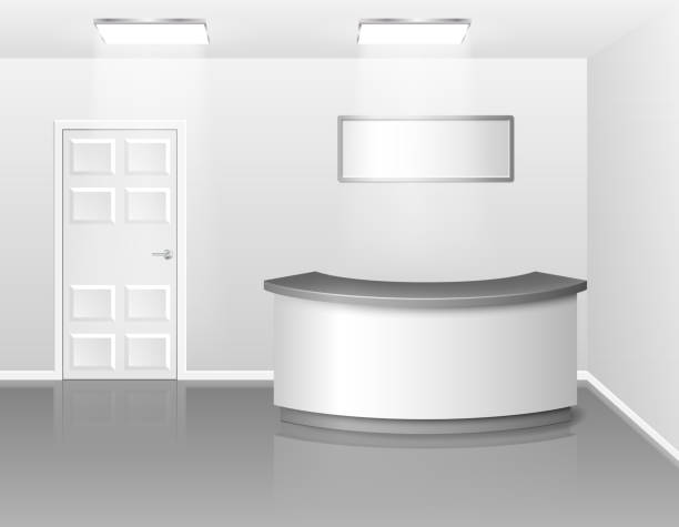 office or hotel interior with reception or exhibition counter desk. 3d realistic vector illustration. empty business interior hall with counter - hotel reception stock illustrations