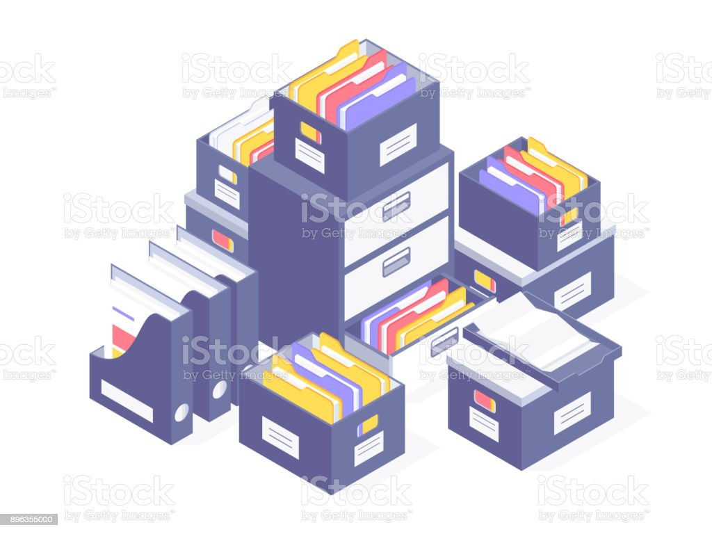 Office paper document and file folders