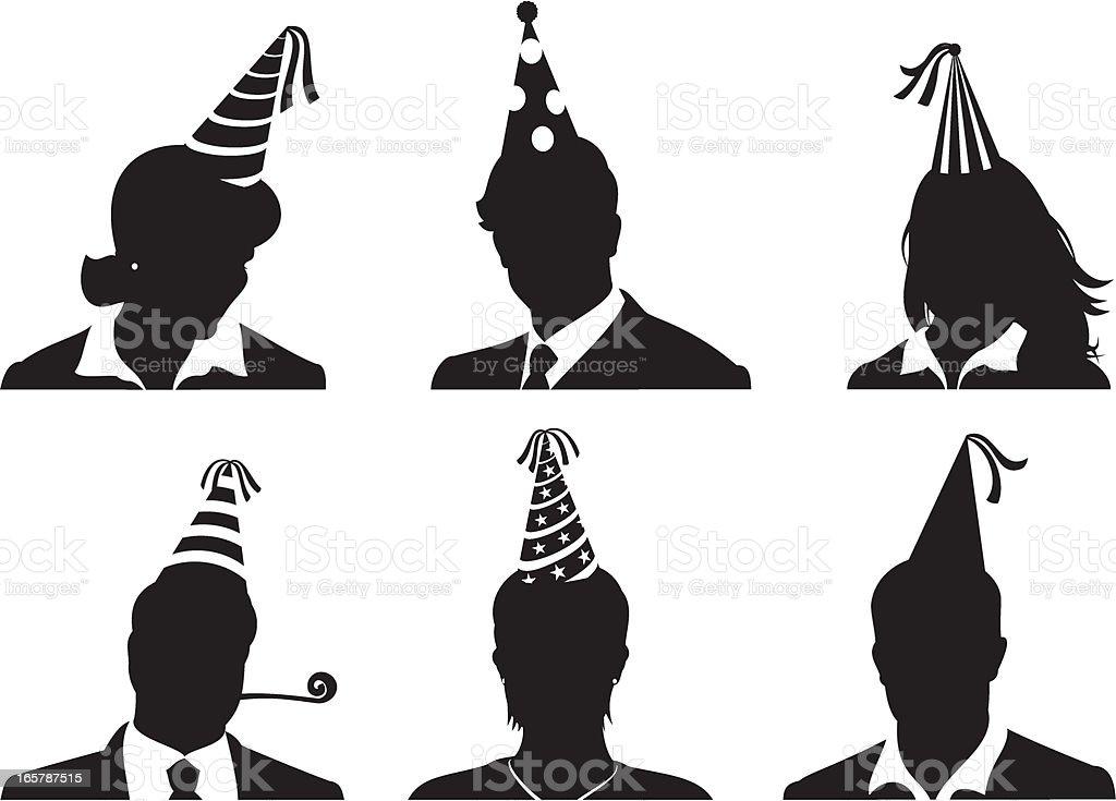 Cabezales de fiesta en la oficina - ilustración de arte vectorial