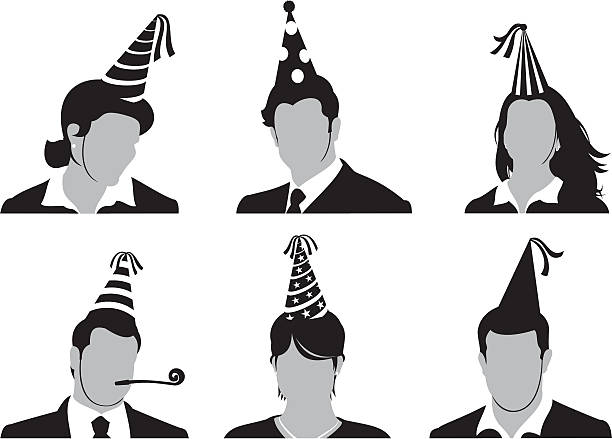 office party heads - office party stock illustrations, clip art, cartoons, & icons