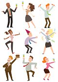 Office party people vector set.