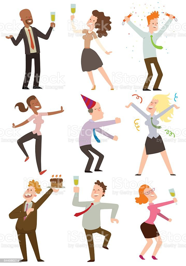 Office party people vector set. vector art illustration