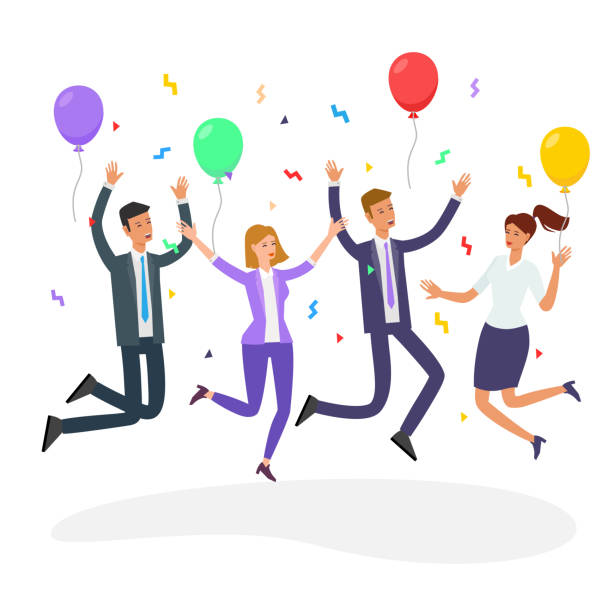 office party people vector - office party stock illustrations, clip art, cartoons, & icons