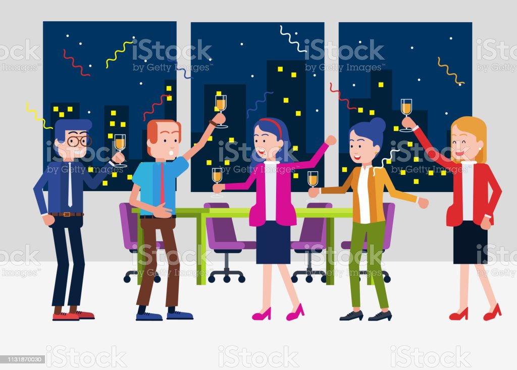 Office Party Time vector art illustration