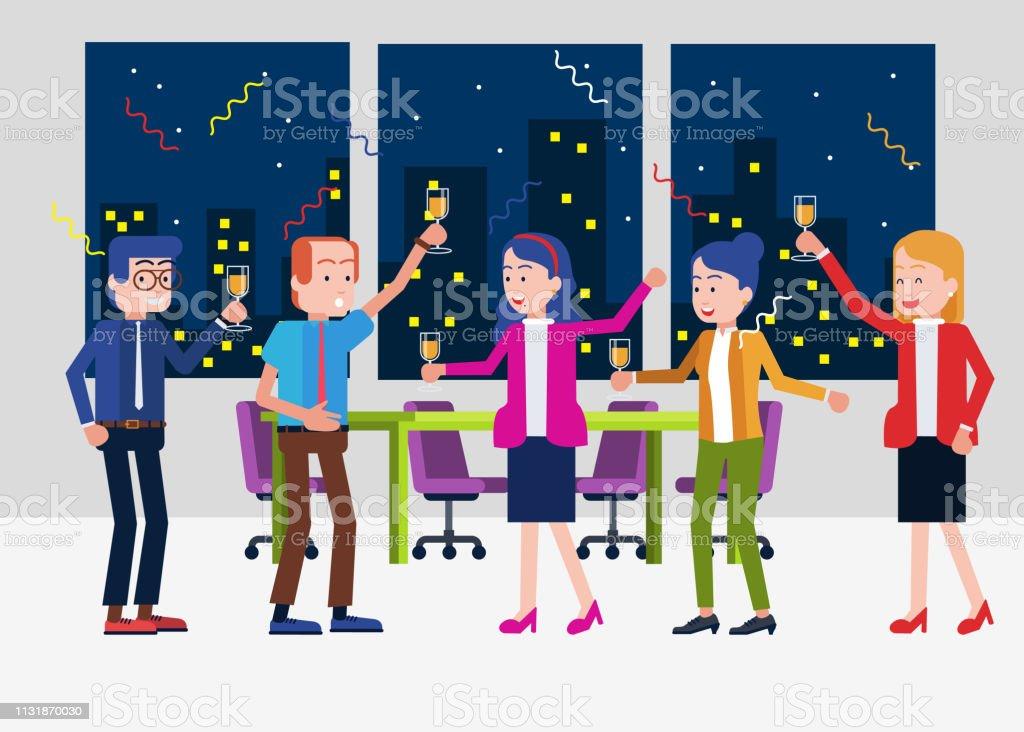 Tiempo de fiesta de oficina - ilustración de arte vectorial