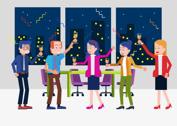 office party time - office party stock illustrations, clip art, cartoons, & icons