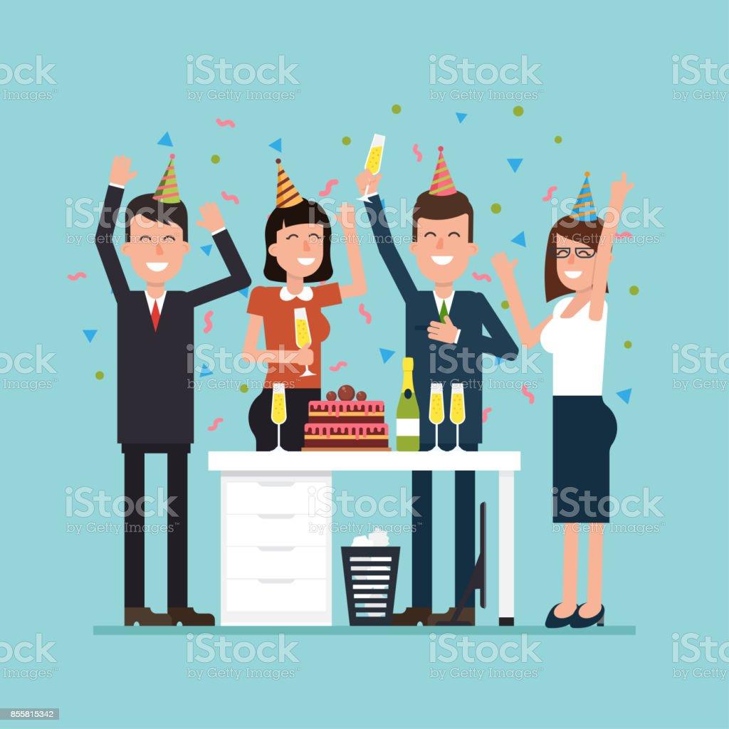 Fiesta de la oficina con empleados. Ilustración plana de vector con trabajadores alegres, confeti, torta y champagne. Concepto simple de la situación de trabajo. - ilustración de arte vectorial