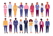 Vector illustration of diverse cartoon standing men and women of various races, ages and body type. Isolated on white