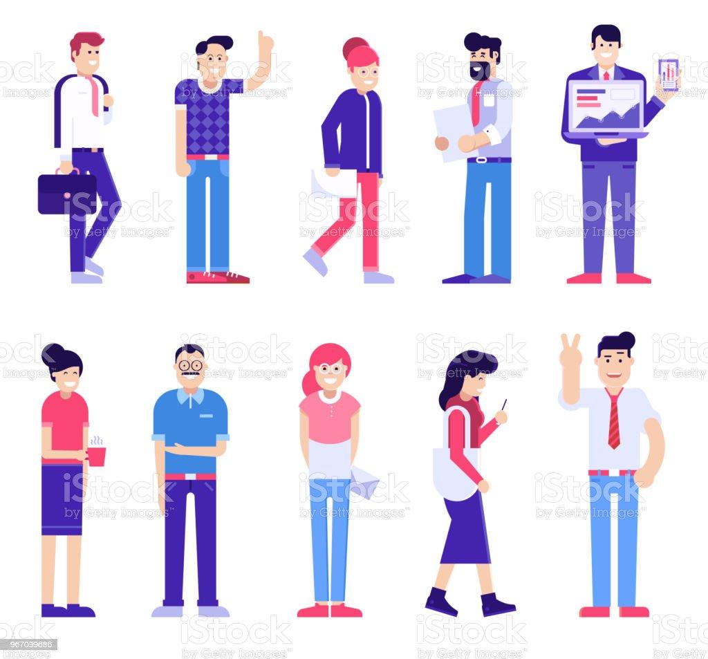 Office People Set, Modern Society vector art illustration