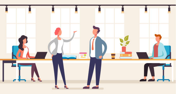 Büromitarbeiter Team-Arbeitskonzept. Vektor-Grafik-Design flache Cartoon-Illustration – Vektorgrafik