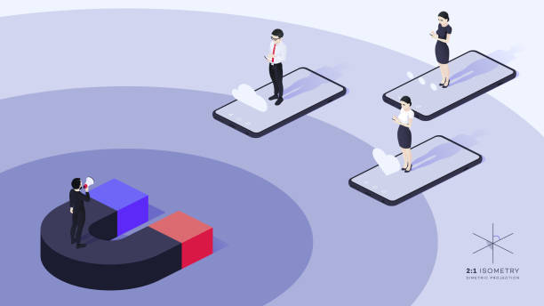 Office people use mobile phones. Vector isometric illustration for mobile social media marketing. Businessman in strict corporate suit stands on magnet with megaphone. Office people use mobile phones. Vector isometric illustration for mobile social media marketing. showing off stock illustrations