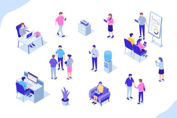 osób biurowych - rzut izometryczny stock illustrations