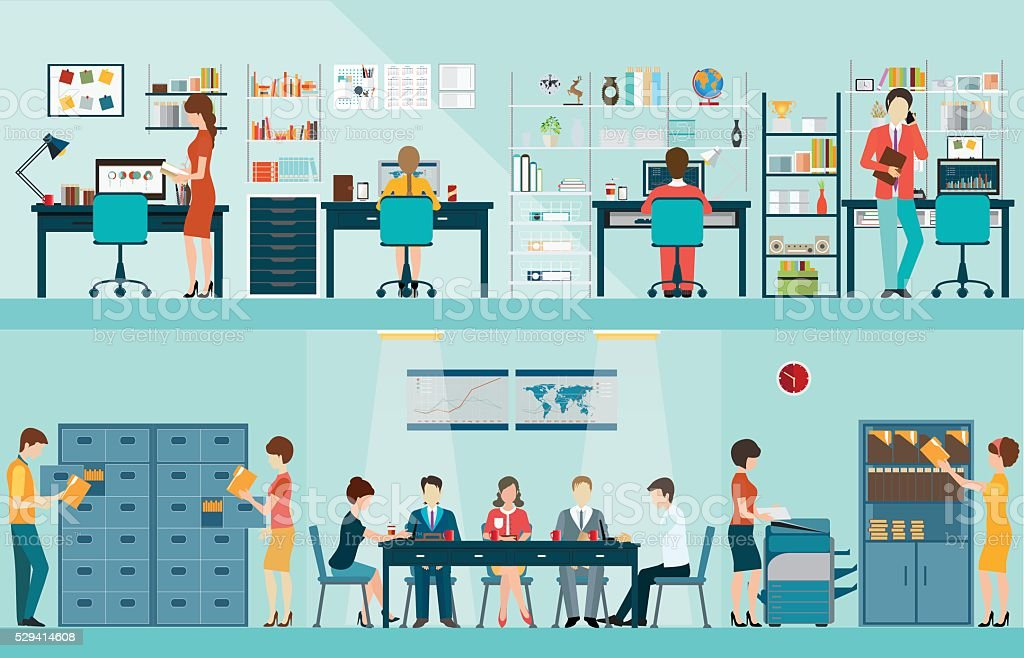 Office people with office desk. vector art illustration