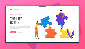 Office People Work Together Setting Up Colorful Separated Puzzle Pieces. Teamwork, Cooperation, Collective Work, Partnership Website Landing Page, Web Page. Cartoon Flat Vector Illustration, Banner
