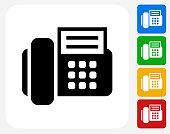 Office Phone Icon Flat Graphic Design