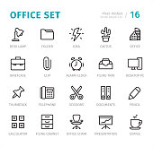 Office Set - 20 Outline Style - Single line icons with captions / Set #16 Designed in 48x48pх square, outline stroke 2px.  First row of outline icons contains: Desk Lamp, Folder, Idea, Cactus, Office;  Second row contains: Briefcase, Clip, Alarm Clock, Filing Tray, Desktop PC;  Third row contains: Thumbtack, Telephone, Scissors, Documents, Pencil;  Fourth row contains: Calculator, Filing Cabinet, Office Chair, Presentation, Coffee.  Complete Signico collection - https://www.istockphoto.com/collaboration/boards/VT_7sDWo80OLh7foVxchBQ