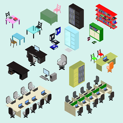 office place, set of isometric elements