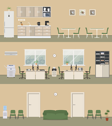 Office premises in a beige color: office room, corridor, office kitchen