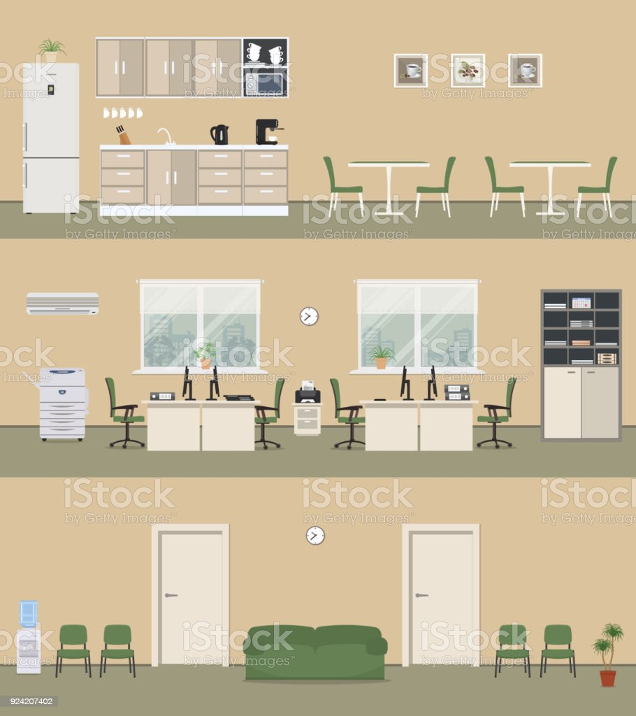 Office premises in a beige color: office room, corridor, office kitchen vector art illustration