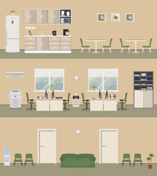 illustrazioni stock, clip art, cartoni animati e icone di tendenza di office premises in a beige color: office room, corridor, office kitchen - kitchen room