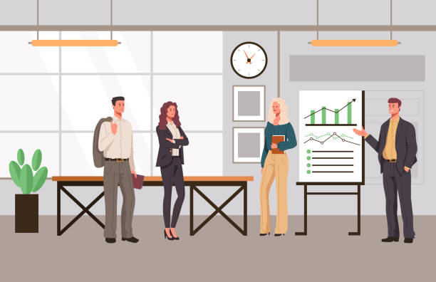 Office presentation people office workers characters concept. Vector flat graphic design cartoon illustration vector art illustration