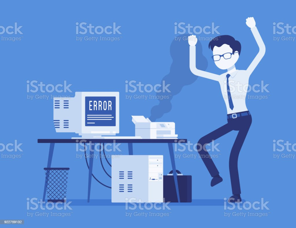 Office printer error vector art illustration