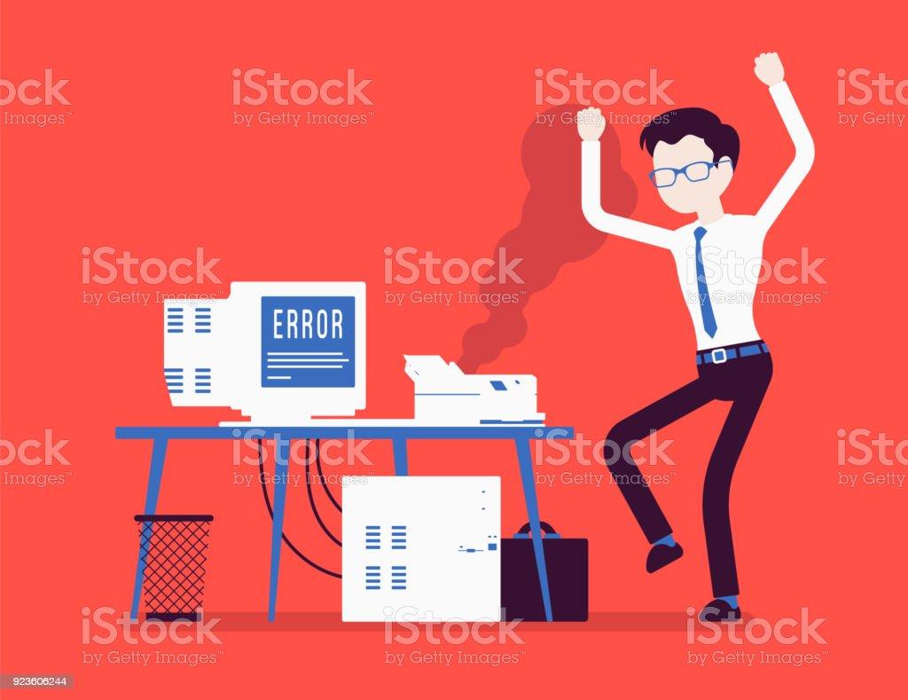Office printer error vector art illustration