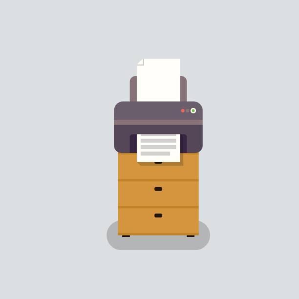 Büro-Drucker-Vektor im flachen Stil – Vektorgrafik
